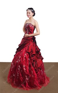 KC Bride wedding dress new beaded formal occasion red applique Tube top taffeta formal fluffy skirt