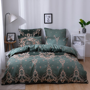 Wholesale YAXINLAN cotton bedding set Pure color Plant flowers Fashion Patterns Bed sheet quilt cover pillowcase new product