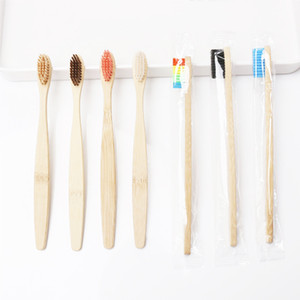 Wholesale Natural Bamboo Handle Toothbrush Rainbow Colorful Whitening Soft Bristles Bamboo Toothbrush Eco friendly Oral Care