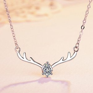 Wholesale 2019 hot style elk pendant small antler necklace zircon collar bone chain set chain Korean version simple accessories