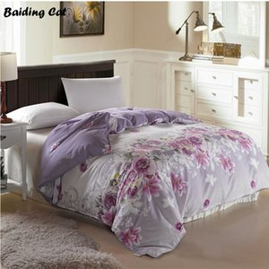 Wholesale Hot Sale New Design Purple Flowers Quilt Cover pc Super Soft Cotton Duvet Cover for Home Bed Twin Full Queen Size