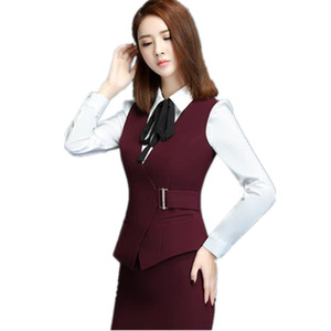 Plus Size 5XL Fashion Sexy Slim Office Red Women's Vest Spring Summer V-Neck Formal Waistcoat for Women Black Work Female Vest