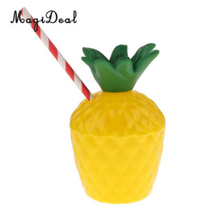 Wholesale tropical supplies resale online - 24pcs Pineapple Coconut Drink Cup with Straw Tropical Hawaiian Luau Beach Party Decoration Party Supplies