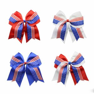 Wholesale 4th of July Cheer Bow Patriotic Glitter Elastic Hair Ties Cheerleader Bow With Ponytail Holder For Girl Cheerleader