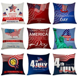 American flag Stars Stripe Pillow Case Letter print Pillow Cover 45*45cm Sofa Nap Cushion Covers Home Decoration American Independence Day