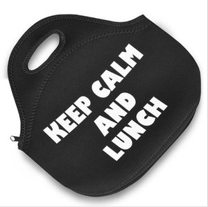 Wholesale Keep Calm And Lunch neoprene thermal insulated portable lunch bag for women kids and baby with zipper