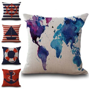Wholesale Sailing World Map Anchor Rubber Pillow Case Cushion Cover Linen Cotton Throw Pillowcases Sofa Car Decorative Pillowcover drop ship