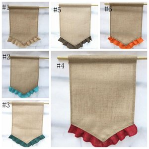 Wholesale DIY Burlap Flag Jute Ruffles Blank Garden Flags Portable Blank Guide Flag Easter Garden Decorations flags for Party home Outdoor Free DHL