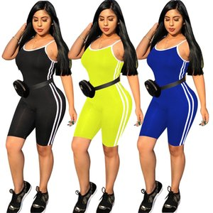 Wholesale Designer Women Strap Jumpsuit Shorts Rompers Bodycon Sexy Short Jumpsuit Striped Plus size Lady Summer Casual clothing S XL