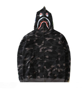 Wholesale Mens Female Sportwear Coat Jogger Tracksuit Fleece Sweatshirt Crewneck Bird Black Camouflage Hip Hop Double Zipper Hoodie Men Shark Mouth