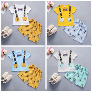 Wholesale Kids Designer Clothes Boys Summer Handsome Clothing Sets Bow Tie Short Sleeve Tops Pants Suits Cotton Fashion Boutique Shorts Outfits B6024