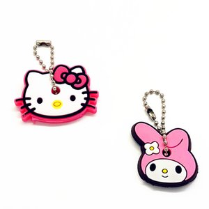Wholesale 2Pcs set Cute Cartoon Melody Hello Kitty Silicone Key chain For Women Man Key Cover Caps Ring Holder Kids Party Gift