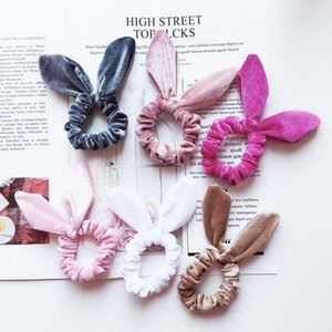 Wholesale New Arrival Girls Velvet Bunny Ears Elastic Hair rope Kids Accessories Ponytail Rabbit ears hairbands Children Scrunchy Hairbands