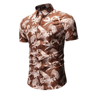 2019 Summer New Arrival Short Sleeve Hawaiian Shirt Slim Fit Fashion Floral Print Men's Dress Shirts Plus Size Men's Shirt on Sale