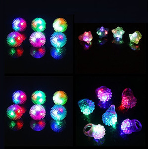 Wholesale 6 Style Strawberry Flashing LED Light Up Toys Rings Party Favors Supplies Glow Jelly Blinking Bulk YH1811