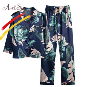 ArtSu Palm Leaf Print Button Up Pajama Set Women Sleepwear Long Sleeve Tops With Long Pants 2019 Spring Silk Satin Pijama Mujer