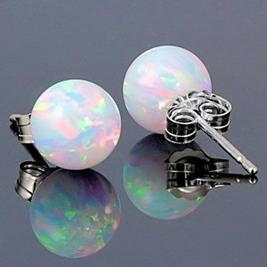 Wholesale New Ball Unique Silver Color Earrings Jewelry White Fire Opal Stud Earrings For Women