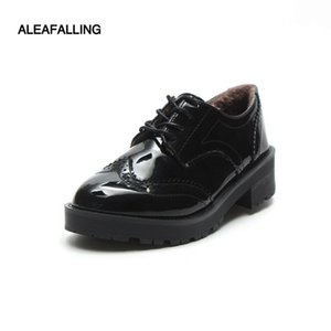 Wholesale Aleafalling Classical Pu Shinny Or Mat Leather Cute Women Boots Lace Up Outdoor Zapatos Mujer Girl s Mature Boots