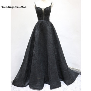 Wholesale Chic Black Evening Dress Long Womens Elegant Lace A-line Formal Dress Maxi Gowns Red Carpet Handmade Floor Length Classic Black