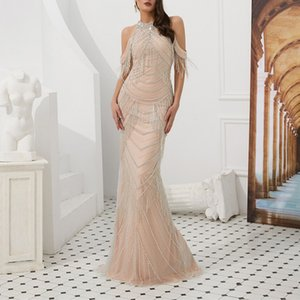 Wholesale Stunning Heavy Beaded Ladies Evening Dress High Neck Boutique Evening Dress Floor Length Formal Prom Party Gowns Special Occasion Dress