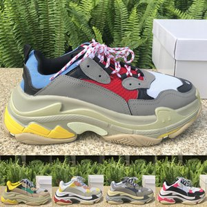 New Top quality Stylist Triple S Platform Shoes Triple Black Mens Womens Outdoor Sneakers Trainers Split Black Grey shoes Size 36-45