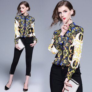 Classic Luxury Spring Fall Runway Women's Baroque Print Collar Shirts Tops Casual Office Lady Button Front Up Down Long Sleeve Shirt Blouse