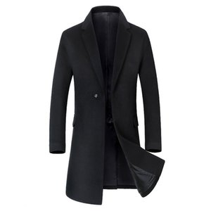 New Men's Long Section Trench Coat Fashion Business Casual Male Turn Down Collar Wool Coat Mens Overcoat Black Grey Green Sugar