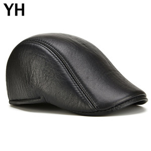 Fall Winter Men Real Genuine Leather Hats Male Casual Real Sheepskin Leather Berets Caps Sheep Skin Visor Newsboy Hat