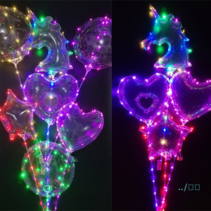 Wholesale balloons decor for sale - Group buy Luminous Balloon LED BoBo Transparent M Colorful Lights Balls Chirstmas New Year Party Decor Gift Tree Unicorn Star Shape With Pole C121902