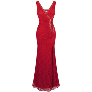 Wholesale Angel-fashions Women's V Neck Lace Split Ruffled Beading Crystal Sheath Red Evening Dresses Party Dress 232
