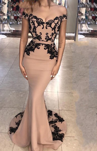 Wholesale blush maternity bridesmaid dresses resale online - Vintage Blush Pinkn Lace Appliqued Off shoulder Mermaid Prom Dresses Sexy Sheath Evening Dress Long Formal Party Pageant Bridesmaid Gown