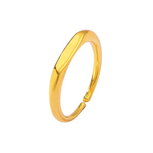Wholesale Top Quality Gold New Refined Simple Female Alloy Ring Smooth Edges And Corner Open Ring Fashion Jewelry
