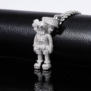 Wholesale Iced Out Cartoon Puppets Pendant Necklace Cubic Zirconia Necklace Fashion Hip Hop Jewelry Mens Gift