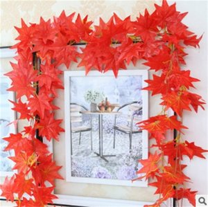 Wholesale Decorative Flower Red Maple Leaf Wreaths Pure Handwork Wall Hanging Plastic Flowers Ivy Plants Conduit Suspended Ceiling Floriculture cl