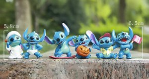 Wholesale Good PVC Styles Halloween Stitch Action Figure Pendant Keychain Anime Model Toy Kids Birthday Gift Decoration Collections L