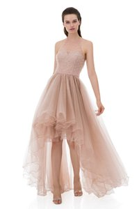 Wholesale halter lace high low formal dress resale online - Sexy Blush High low Prom Dresses Halter Sleeveless A Line Appliques Lace Beaded Ruffles Tulle Formal Evening Party Dress vestidos de baile