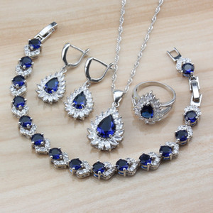 Wholesale silver jade stone sets resale online - 2019 New Arrival Silver Party Jewelry Sets Water Drop With Natural Blue Stones Earrings Necklace Bracelet Ring For Women