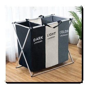 Foldable Dirty Laundry Basket Organizer X-shape Printed Collapsible Three Grid Home Laundry Hamper Sorter Laundry Basket Large T200115