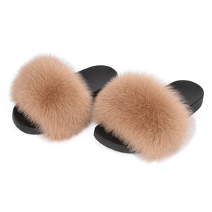 Wholesale Real Fur Slippers Women Fox Home Fluffy Sliders Kids Comfort With Feathers Furry Summer Flats Sweet Ladies Shoes Fox Fur Flip Flops DMD
