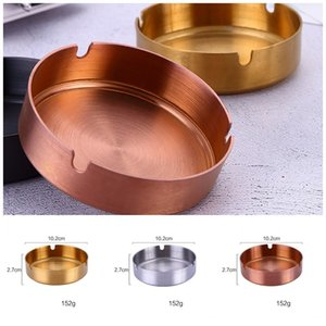 Wholesale Resistance To Fall Internet Bar Ashtrays Stainless Steel Circular metal Color Durable Cigarettes Holder Popular Smoke Cup Gadgets xc4 E1