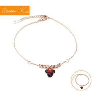 Wholesale Zircon Bracelet Lovely Kawaii Style Titanium Steel Material Bracelet Inlaid Zircon Rose Gold Color Fashion Women Jewelry
