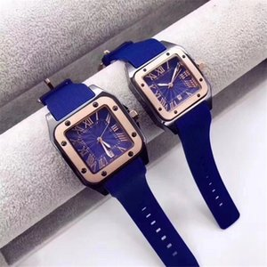 Wholesale HOT gentalmen mens watches fashion women lovers wristwatch rubber square dial Female Relogio Montre Femme Free Shipping