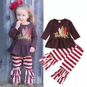 Wholesale Thanksgiving Baby girls outfits kids feather letter print top and stripe pants autumn spring kid clothing set