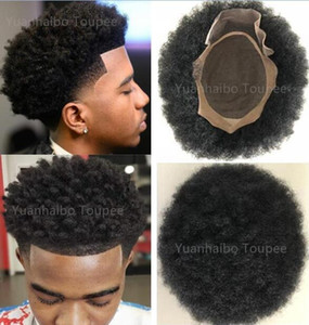 Wholesale wig curls resale online - 4mm Afro Hair Toupee Mono Lace for Basketbass Players and Fans Brazilian Virgin Human Hair Replacement Afro Curl Men Wig Free Shippinng