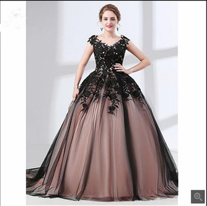 2019 robe de soiree ball gown champagne black prom dresses lace appliques cap sleeve modest beaded sequins corset prom gowns