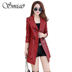Smiao Female Leather PU Jacket PU Faux Leather Outwear Winter Plus Size 4XL Coat 2018 Autumn Suede Women's Clothing M-5XL