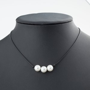 Wholesale Minimalist Imitation pearls choker necklace Black Handmade Leather Cord String Rope chain Blue Turquoise pendant For women DIY Jewelry