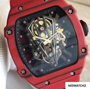 Wholesale Top Luxry 27-03 NTPT Carbon Fiber Red Case Skeleton Perspective Automatic Mens Fashion Watch Ribbon Nylon Strap Casual Men Wristwatch