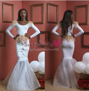 Wholesale Long Sleeves White Organza Mermaid Evening Dresses Sexy Beading Zipper Feather Celebrity Gowns Party Formal Ball Gown Prom Dress