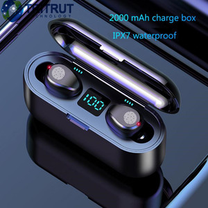 kopfhörer für bluetooth großhandel-F9 TWS drahtlose Kopfhörer Bluetooth V5 Earbuds Bluetooth Kopfhörer LED Display mit mAh Energien Bank Headset mit Mikrofon MQ01